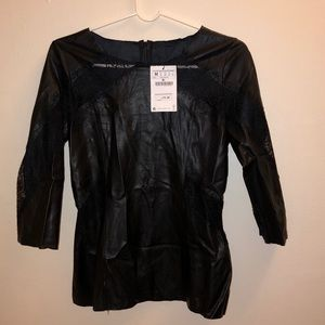 Zara W&B collection Faux Leather Top